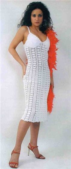 White Strappy Summer Dress free crochet graph pattern
