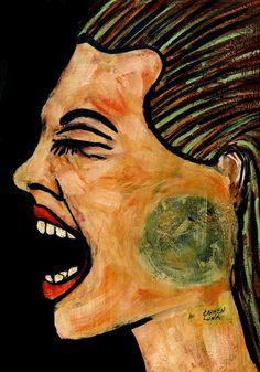 94-RETRATOS Expresionistas . Voz. - Pintura,  30x21 cm ©2013 por CARMEN  LUNA -                                                                                                                                                Expresionismo, Art Nouveau y modernismo, Pintura contemporánea, Retrato, Papel, Retratos, Culturas de mundo, Cultura popular / celebridades, Mujeres, Tiempo, arte, retratos, expresionismo, artista, carmen luna, pinturas, saatchi art, emiratos arabes unidos, qatar, doha…