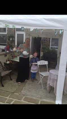 Me and my son raising teapot ! McMillan coffee morning 2012