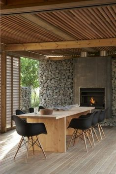 Best Ideas For Modern House Design & Architecture : – Picture : – Description Modern Home Design by the Urbanist Lab Outdoor Rooms, Outdoor Dining, Dining Area, Indoor Outdoor, Dining Table, Rustic Outdoor, Outdoor Stone, Outdoor Kitchens, Outdoor Areas