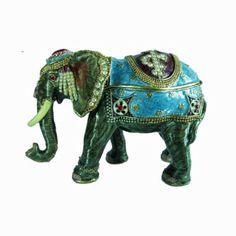 Elephant with blue hand painted enamel cover with Austrian crystals trinket / jewelry box