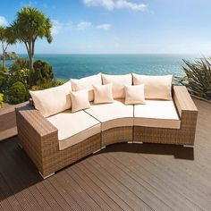 Luxury outdoor garden 3 seater sofa/settee brown rattan/cream fabric 17. Truly stunning in design, this large 3 seater sofa gives a super high-class feel. This set consists of left and right hand end pieces, rounded middle sofa piece, clips to hold them together, 3 x scatter cushions and a heavy-duty cover in green. Made from fully weatherproof PE rattan, hand woven over a rust resistant frame. Call 02476 642139 or email sales@quatropi.com or visit www.quatropi.com for additional…