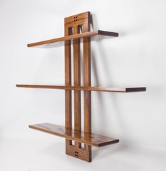 Our Three Tier Floating Shelf In Red Oak With A Custom Color Matched Finish