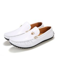 26d353e6781 Maserati Men Shoes Flats Genuine Leather White Loafers Slip On Moccasins  Sneakers Mocassin Casual Mens Soft Designer Blue Patent