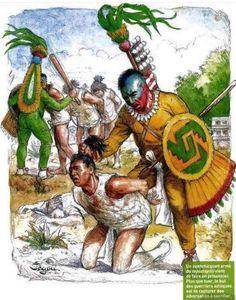 Aztec warrior taking an enemy captive for sacrificial rituals Ancient Aztecs, Ancient Civilizations, Kabuto Samurai, Aztec Symbols, Colombian Art, Aztec Empire, Arte Sci Fi, Aztec Culture, Tribal Warrior
