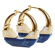 Jade Jagger NeverEnding Sapphire and Enamel Hoop Earrings. Hand Carved Blue Sapphire Hoop Earrings Set in 18k Yellow Gold With Intricate White Enamel Work.  Sapphire 31 ct. India, c 2014