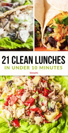 Looking for ways to eat clean all day long? These are 21 clean lunches that can be prepared in under 10 minutes and are great options for packing lunch for school or work. # clean eating lunch 21 Clean Lunches In Under 10 Minutes Clean Eating Meal Plan, Clean Eating Breakfast, Clean Eating Snacks, Healthy Eating, Recipes For Clean Eating, Eating Raw, Eat Clean Lunches, Clean Dinner Recipes For Two, Clean Eating Pasta