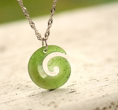 Swirl Necklace - Jade Maori Necklace - Sterling Silver. $85.00, via Etsy.