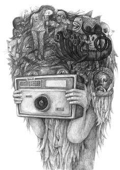 Illustration by Austrian artist Stefan Zsaitsits Illustration Sketches, Graphic Illustration, Pencil Drawings, Art Drawings, Pencil Art, Jorge Ben, Street Art, Arte Popular, Character Drawing
