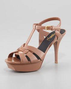 """Tribute Patent Leather Sandal, Dark Nude, 4"""" by Saint Laurent at Neiman Marcus."""