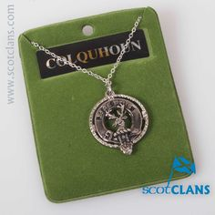 Colquhoun Clan Crest Pendant. Free worldwide shipping available.