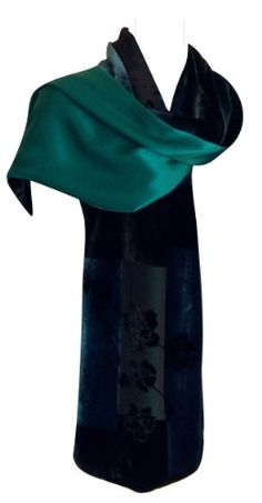 JJcollection Burn-out Velvet Scarf w/Silk Backing, 66L x13W, Flora, Turquoise $59.99 (29% OFF)