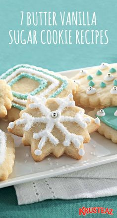 Searching for a classic dessert recipe to serve at your Christmas party, lay out for Santa, or give as homemade holiday gifts? Look no further than this collection of 7 Butter Vanilla Sugar Cookie Recipes! Plus, each treat is sure to inspire you with deli www.VeganFoodDaily.com Holiday Cookies, Holiday Desserts, Holiday Baking, Holiday Treats, Holiday Recipes, Holiday Gifts, Snowman Cookies, Christmas Sweets, Christmas Cooking