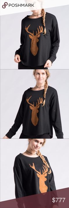 🆕 🖤COMING SOON🖤 🖤Baby it's cold outside! Black sweater with suede reindeer logo on the front🖤 Sweaters