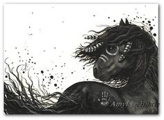 Majestic Horses 53 - Friesian War Paint Native Feathers - Fine ArT Prints or ACEO by Bihrle