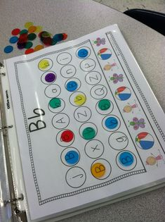 Alphabet binder (on TpT but easy to make on your own). Could do different fonts for letter recognition. Preschool Letters, Learning Letters, Kindergarten Literacy, Alphabet Activities, Preschool Learning, Literacy Activities, Letter Identification Activities, Creative Curriculum Preschool, Teaching Letter Recognition