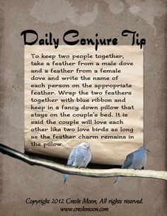Daily Conjure Tip: To keep 2 people together www.psychickerilyn.com www.facebook.com/PsychicKerilyn
