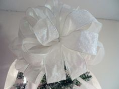 Large White glitter Christmas Tree topper bow by creativelycarole, $30.00