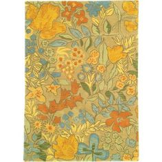 VINTAGE LOOK...Prescott Park Rug in Warm (floral Pattern, Tufted Rugs) | Handmade Area Rugs from Company C