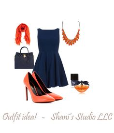 Orange and Navy Blue outfit!  Bib style statement necklace by ShanisStudioLLC