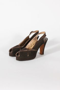 1940s shoes size 7 / 75  brown platform peep toes  by TheParaders, $214.00