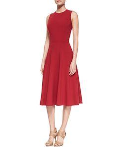 Sleeveless Full-Skirt Dress, Rose