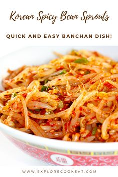 Korean Spicy Bean Sprouts is a super delicious Korean banchan! Easy to make it is the perfect accompaniment to rice or any Korean main dish! Veggie Dishes, Veggie Recipes, Food Dishes, Asian Recipes, Vegetarian Recipes, Cooking Recipes, Healthy Recipes, Vegetarian Barbecue, Barbecue Recipes