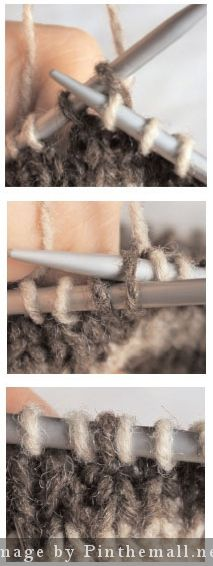 """Knitting Tutorial: """"Knit into the front and back of a stitch to increase. The difference here is that there's no bump because you don't actually knit into the back, but just slip the stitch off the needles in addition to having knit into the front."""""""