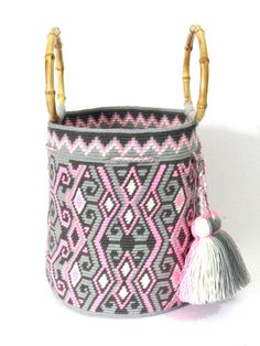 Tamaño medio excepcional única pisada Wayuu mochila bolso cubo