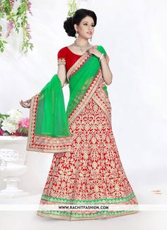 Buy Thrilling #Bhagalpuri Designer Lehenga In Red Colour  #designerfashion #clothing #fashion