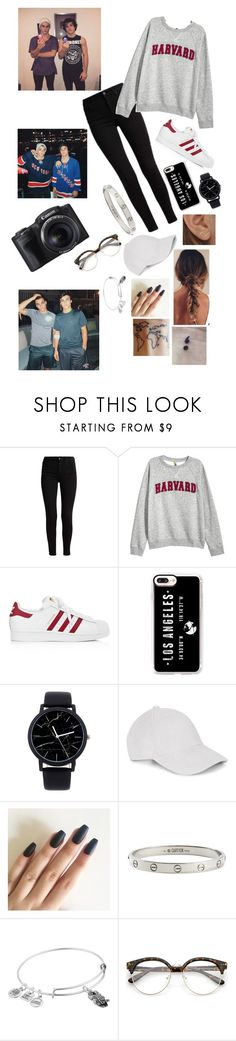 """Vlogging"" by haleymbrown ❤ liked on Polyvore featuring H&M, adidas, Casetify, Kathleen Whitaker, Cartier, Alex and Ani and Dolan"