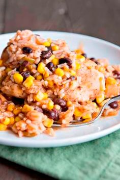 Spanish Chicken & Rice Bake | A throw-it-together and pop it in the oven supper.
