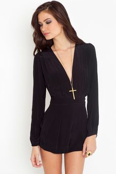 Long sleeved black romper - I love rompers! :)