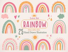 Valentines Greetings, Valentine Greeting Cards, Illustrations, Graphic Illustration, Rainbow Clipart, Doodle, Drawing Clipart, Baby Shower, Rainbow Baby