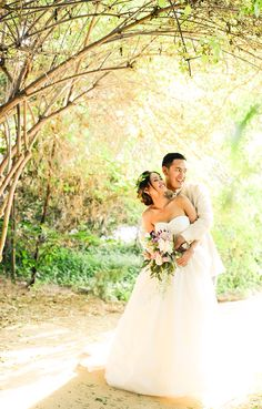 5-3-14! Our wedding day! My perfect wedding dress!!!! Vera wang ivory gown with pockets!!! Bohemian style wedding! Barong Tagalog for my husband! Floral bouquet with seeded eucalyptus, mink protea, and king protea from Hawaii! Simple dainty floral crown of greenery! Taken at heritage park Santa Fe springs California. Photo taken by Eloisa Hernandez of Storybox Collection!