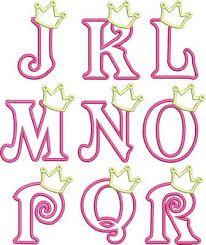 Iron On Applique Princess Crown Letters (A-Z) Princess Font, Princess Crowns, Princess Party, Disney Princess, Embroidery Patterns, Machine Embroidery, Embroidery Applique, Embroidery Fonts, Hand Lettering Alphabet