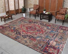 "Turkish Rug Handmade Large Oriental Oushak Persian Wool Oriental Rug, Farmhouse Antique 7'6"" x 10'8"", 061157 large rug"