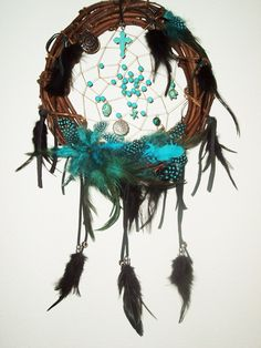 Twig Dream Catcher Ojibwa Turquoise Feathers by extravagantdesigns, $55.00
