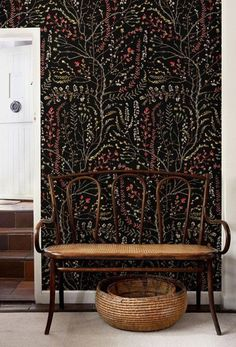 Find dark patterned wallpaper for your home on domino. Domino editors share their favorite dark, moody wallpaper patterns for your home. Maison Tudor, Moody Wallpaper, Wallpaper Ideas, Venice Wallpaper, Black Wallpaper For Walls, Wallpaper Wallpapers, Black Floral Wallpaper, Wallpaper Stairs, Wallpaper Designs