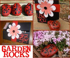 Ladybug Garden Rocks for Grandma - Mother's day gift from grandkids. Includes a really cute poem to go with it. Mother Poems, Mothers Day Poems, Mothers Day Crafts, Mother Day Gifts, Mother's Day Projects, Projects For Kids, Craft Projects, Crafts For Kids, Homemade Gifts