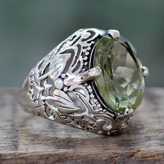 Handmade Prasiolite and Sterling Silver Cocktail Ring - Floral Greenery | NOVICA