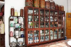 Ceramic wares displays of a typical Peranakan home, rich homes has different sets of dinner wares for each occasion.