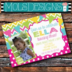 Any Color NEON PHOTO BIRTHDAY Pink Purple Teal Green Yellow Turquoise Chevron Polka Dot 1st 2nd 3rd 4th BIrthday Baby Girl Shower Invitation by MolsDesigns on Etsy https://www.etsy.com/listing/200525486/any-color-neon-photo-birthday-pink