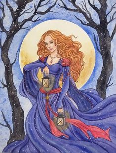Imbolc is one of my favorite celtic holidays. and I knew from the beginning, that I will draw celtic goddess Brigid for the february moon painting. St Bridget, Architecture Design, Irish Mythology, Earth Book, Celtic Goddess, Book Of Kells, Moon Painting, Triple Goddess, Irish Dance
