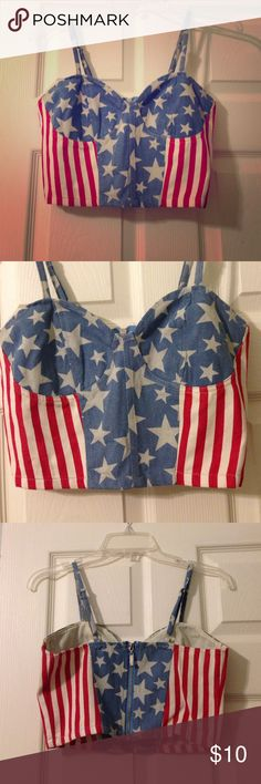 'Merica  Very patriotic crop top! Lightly used last July 4th. Perfect for Forth of July, Veteran's Day, and all other U.S. Holidays ☀️✌️ Very J Tops Crop Tops