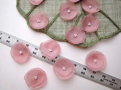 Organza fabric handmade sew on flower appliques, floral supplies, bridal crafts, floral embellishments SHIMMERY DUSTY ROSE Organza Flowers, Felt Flowers, Fabric Flowers, Barrettes, Burlap Fabric, Pink Cotton Candy, Floral Supplies, Wedding Crafts, Flower Applique