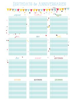 Birthdays & Anniversaries / Perpetual Calendar Sheet Free Planner Printable (A5)