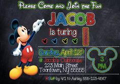 Mickey Mouse Birthday Invitation 5x7 by StayClassyDesign on Etsy