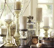 Pottery Barn - Champagne Mercury Glass Pillar Holders - 19.00-49.00