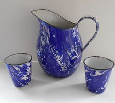 Vintage Blue Swirl Enamelware Graniteware Pitcher and 2 Cups Good Condition   eBay